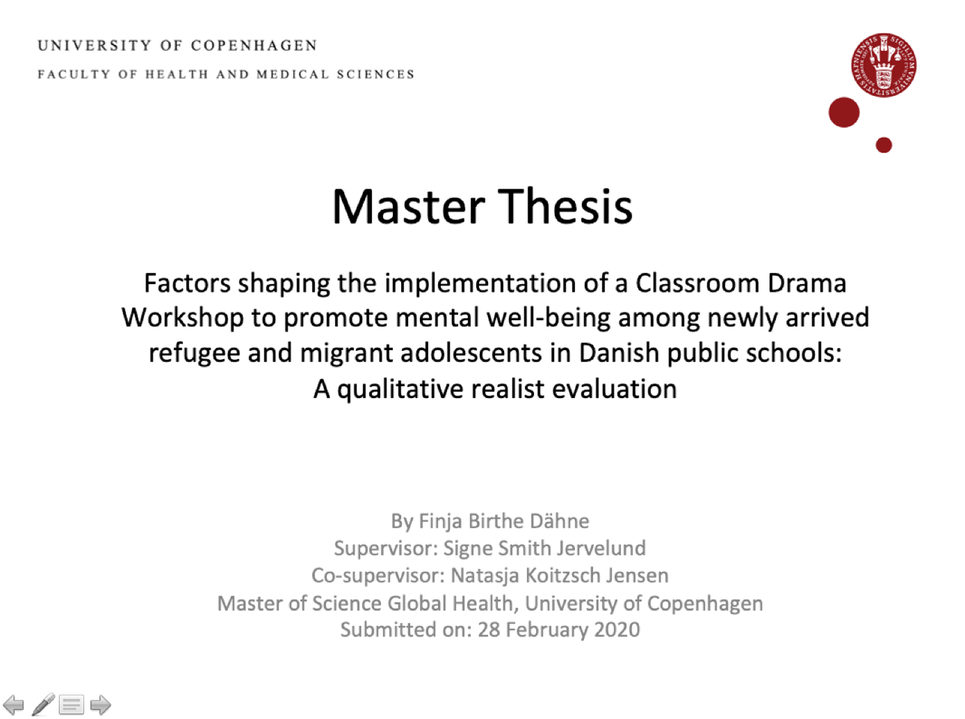 Successful RWS master thesis in Denmark